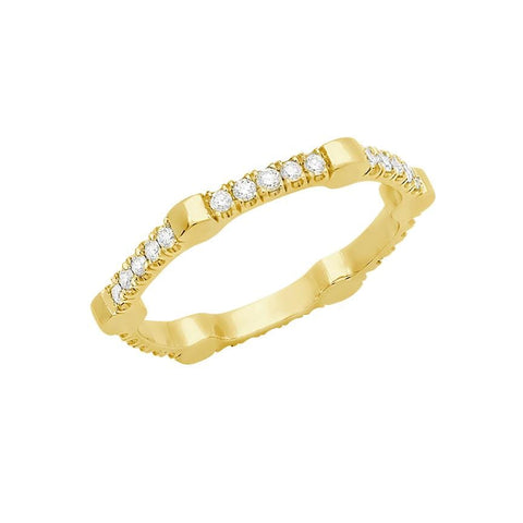Cage Band | Gold with White Diamonds