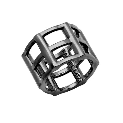Cage Ring | Black Gold