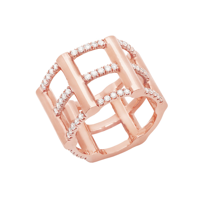 Cage Ring | Rose Gold with Diamonds