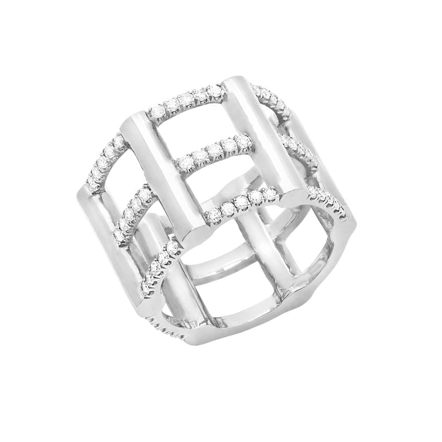 Cage Ring | 14K White Gold with Diamonds