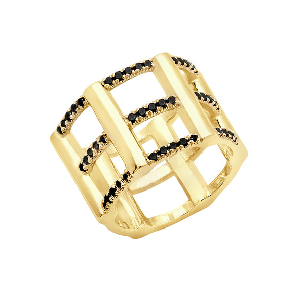 Cage Ring | Gold with Black Diamonds