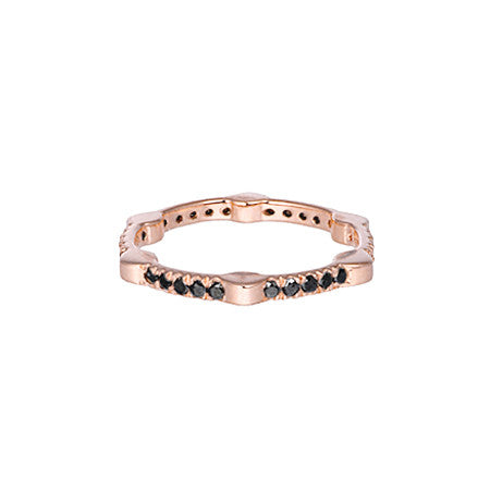Cage Band | Rose Gold with Black Diamonds on All Sides
