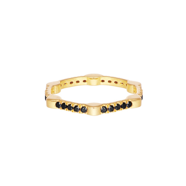 Cage Band | Gold with Black Diamonds on All Sides