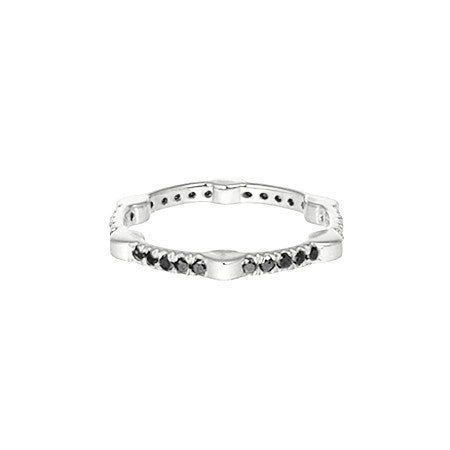 Cage Band | White Gold with Black Diamonds on All Sides