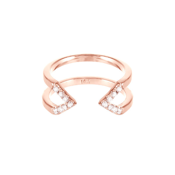 Dagger Ring  | 14K Rose Gold with White Diamonds