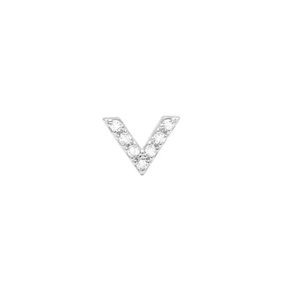 Single Diamond Dagger Stud | White Gold