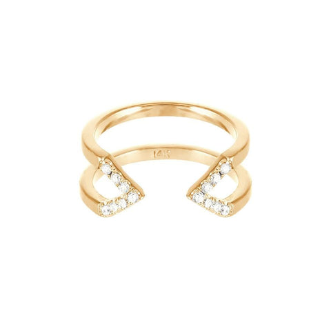 Dagger Ring  | 14K Yellow Gold with White Diamonds