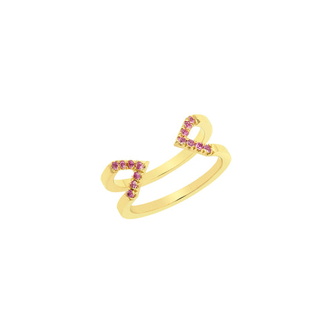 Dagger Ring - Midi  | Yellow Gold with Pink Sapphires