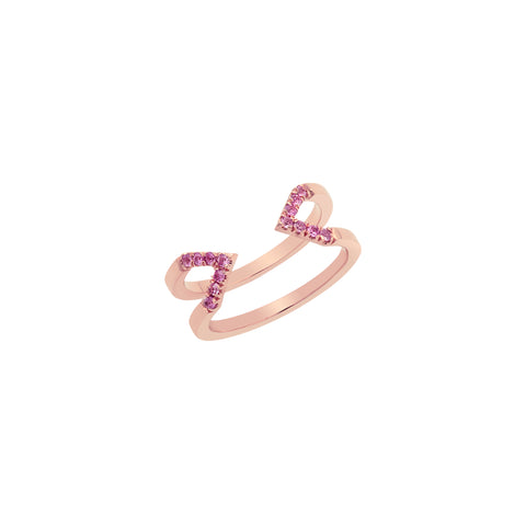 Dagger Ring - Midi  | Rose Gold with Pink Sapphires
