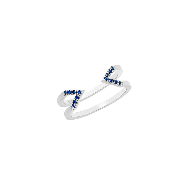 Dagger Ring - Midi  | White Gold with Blue Sapphires