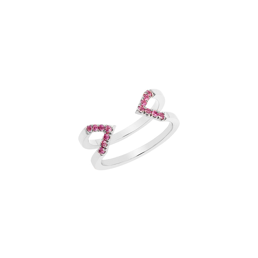 Dagger Ring - Midi  | White Gold with Pink Sapphires