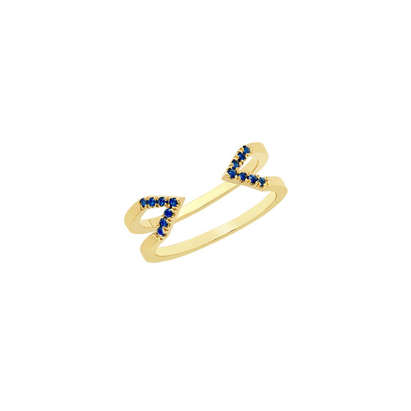 Dagger Ring - Midi  | Yellow Gold with Blue Sapphires
