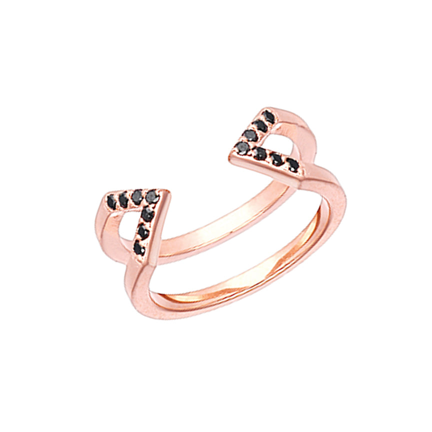 Dagger Ring  | Rose Gold with Black Diamonds