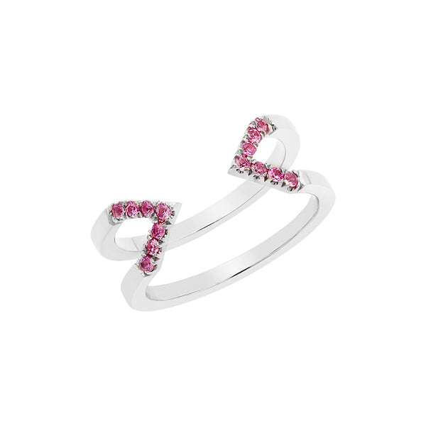 Pink Sapphire Dagger Ring | White Gold