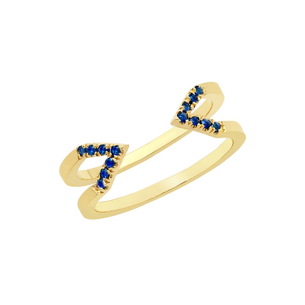 Dagger Ring  | Yellow Gold with Blue Sapphires