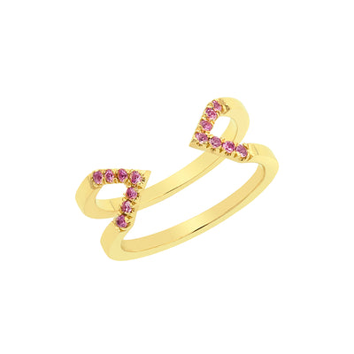 Pink Sapphire Dagger Ring | Yellow Gold