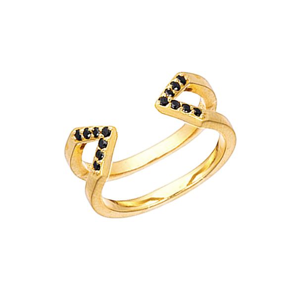 Dagger Ring  | Yellow Gold with Black Diamonds