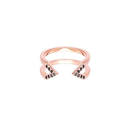 Dagger Ring - Midi | 14K Rose Gold - Black Diamonds
