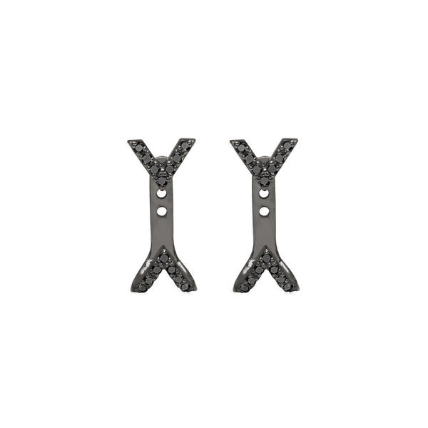 Diamond Dagger Studs with Ear Jackets | Black Rhodium with Black Diamonds