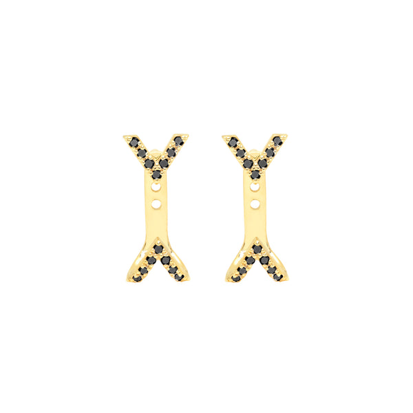Diamond Dagger Studs with Ear Jackets | Yellow Gold with Black Diamonds