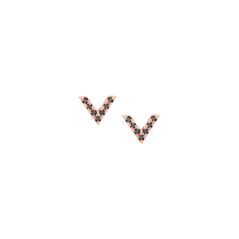 Diamond Dagger Stud Earrings | Rose Gold with Black Diamonds