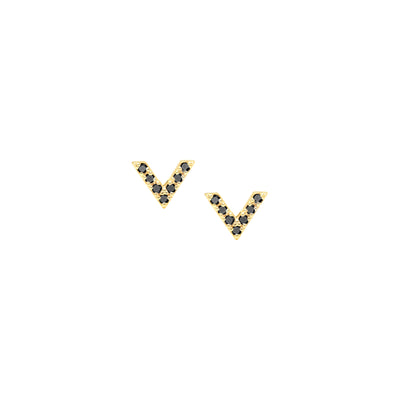 Black Diamond Dagger Studs | Yellow Gold