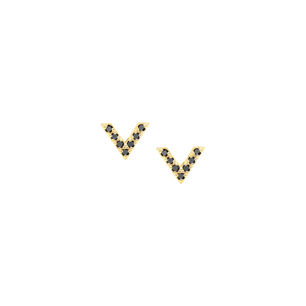 Diamond Dagger Stud Earrings | Yellow Gold with Black Diamonds