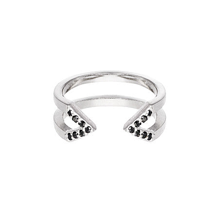 Dagger Ring  | White Gold with Black Diamonds