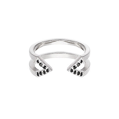 Black Diamond Dagger Ring | White Gold