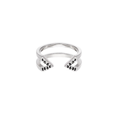 Dagger Ring - Midi  | 14K White Gold - Black Diamonds