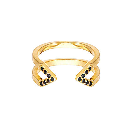 Dagger Ring  | 14K Yellow Gold with Black Diamonds