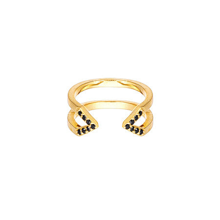 Dagger Ring - Midi | 14K Yellow Gold - Black Diamonds