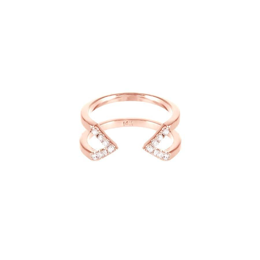 Dagger Ring - Midi | Rose Gold - White Diamonds