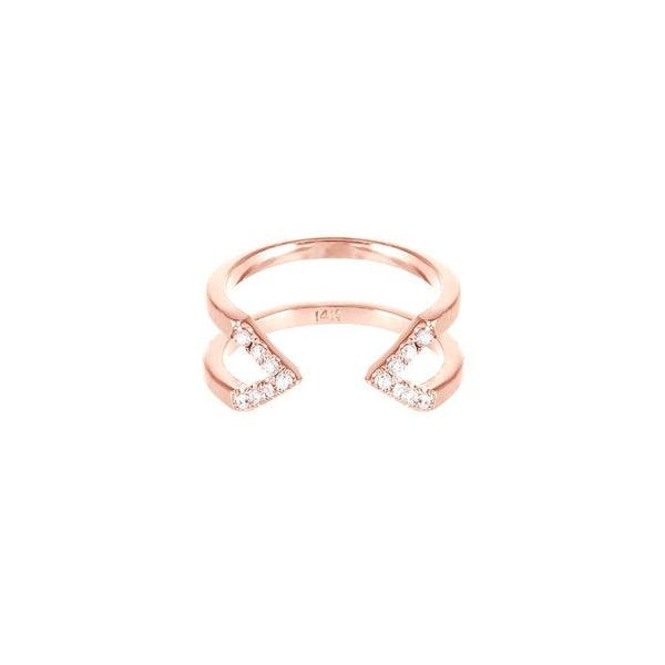 Dagger Ring - Midi | 14K Rose Gold - White Diamonds