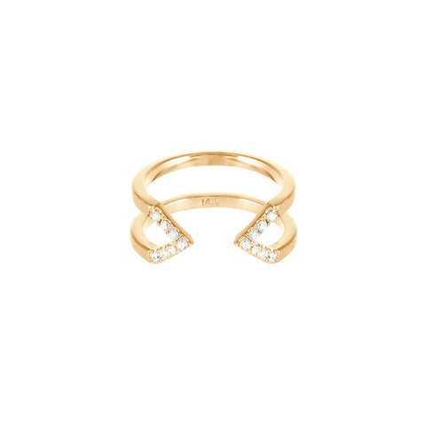 Dagger Ring - Midi | 14K Yellow Gold - White Diamonds