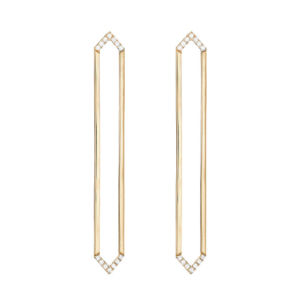 Long Marquis Earrings | Gold with White Diamonds on Points