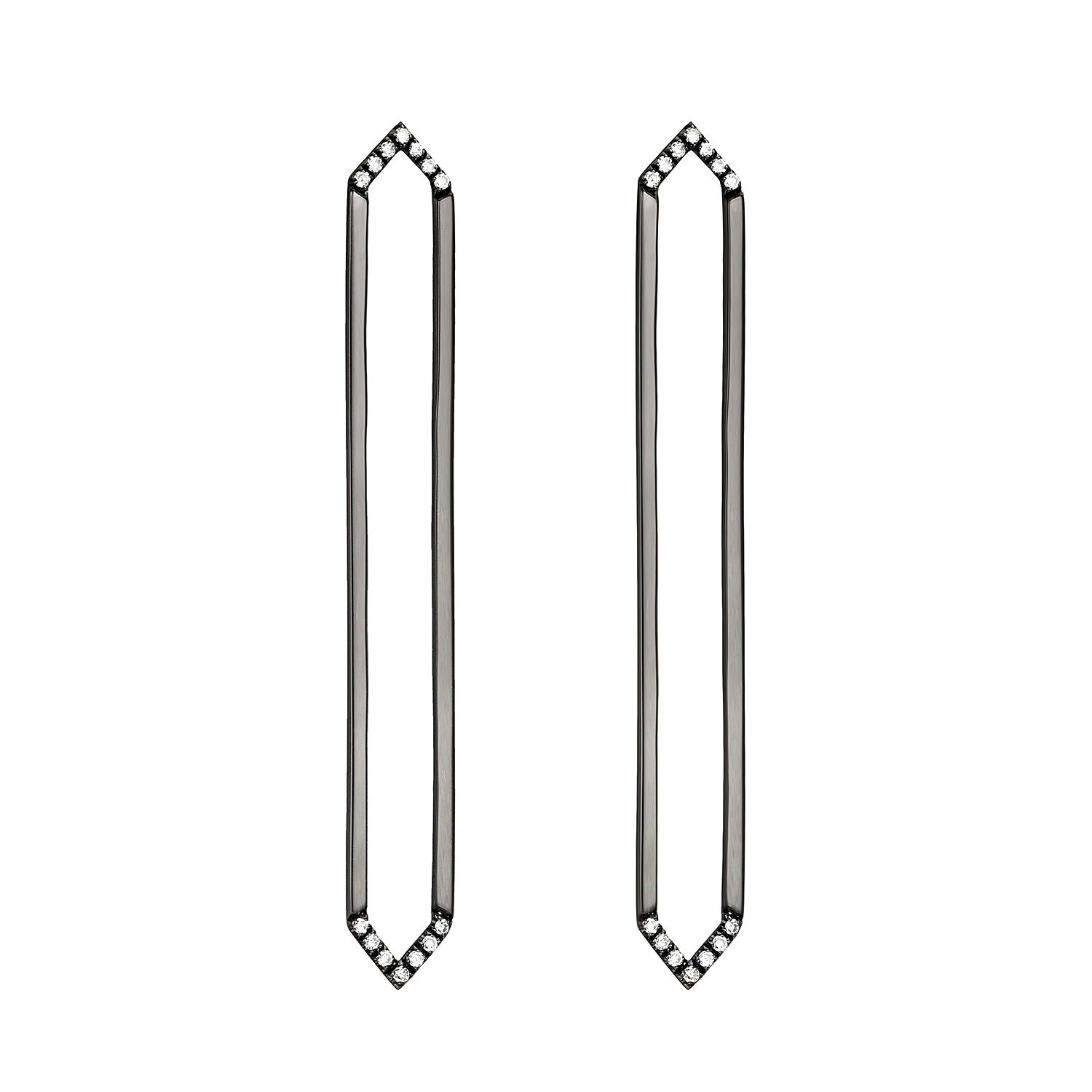 Long Marquis Earrings | 14K Black Gold with White Diamonds on Points