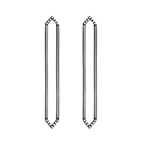 Long Marquis Earrings | Black Gold with White Diamonds on Points