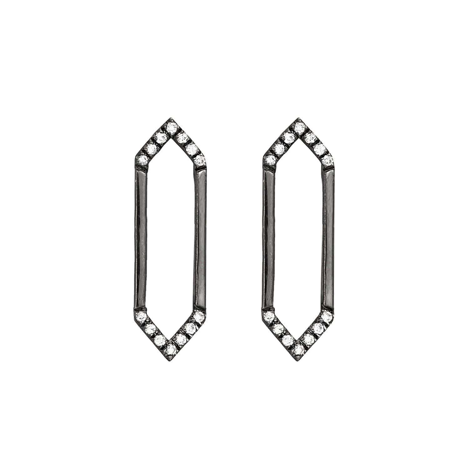 Medium Marquis Earrings | Black Gold with Diamonds on Points
