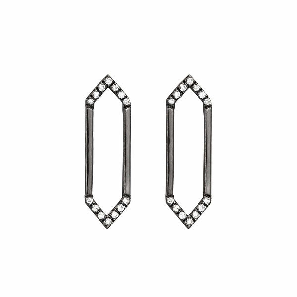 Medium Marquis Earrings | 14K Black Gold & White Diamonds