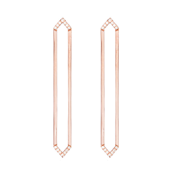 Long Marquis Earrings | Rose Gold with White Diamonds on Points
