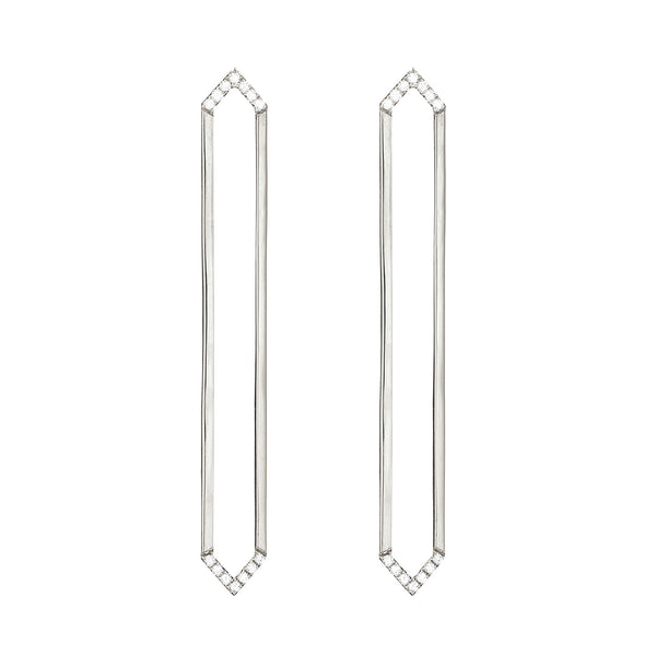 Long Marquis Earrings | White Gold with White Diamonds on Points