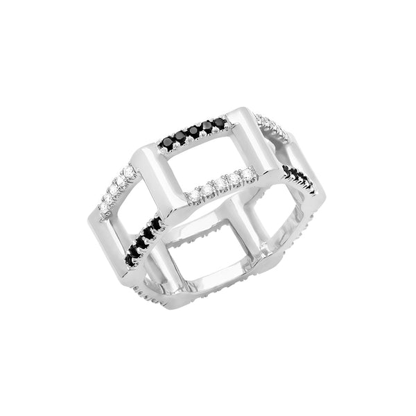 Donna Half Cage Ring | White Gold with Diamonds
