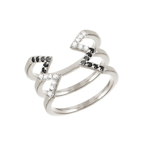 Donna Stacked Dagger Ring  | 14K White Gold with Diamonds