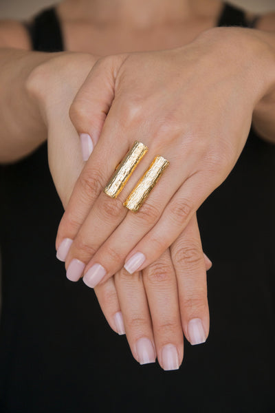 Double Tube Ring | Gold Plated Brass