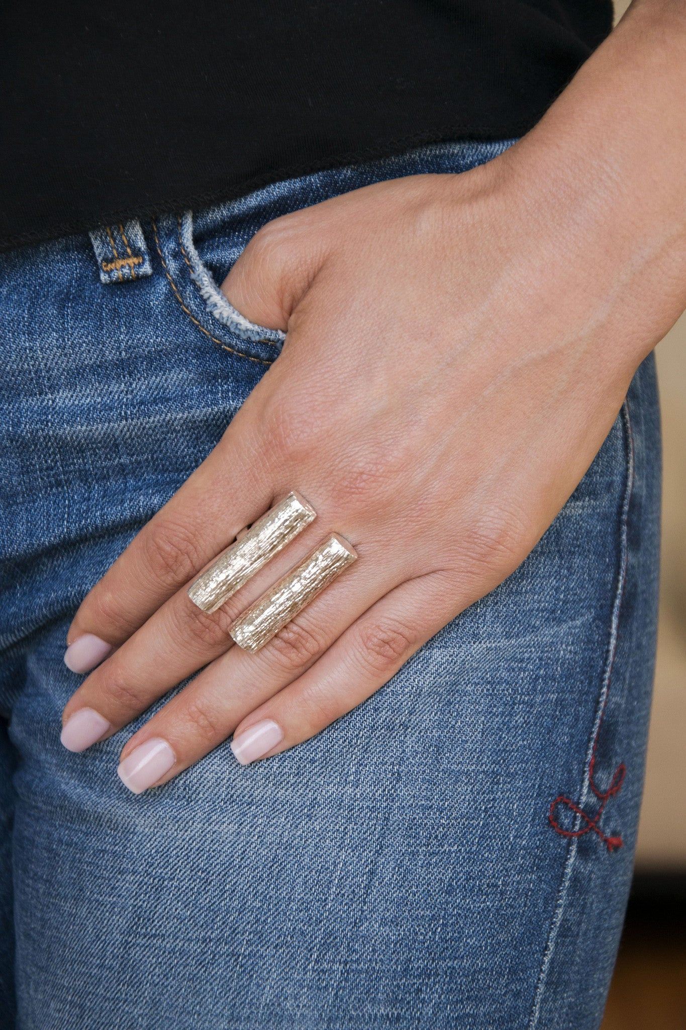 Double Tube Ring | Silver Plated Brass