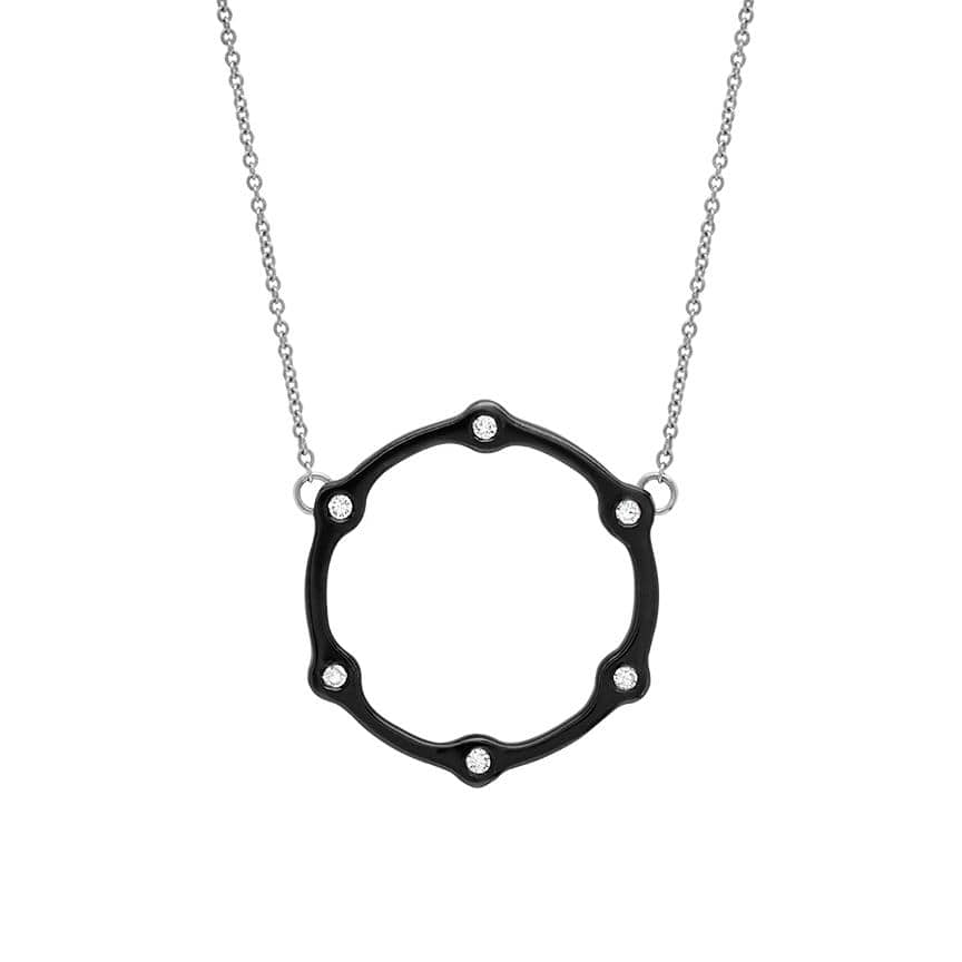 Gear Necklace | Black Gold with White Diamonds