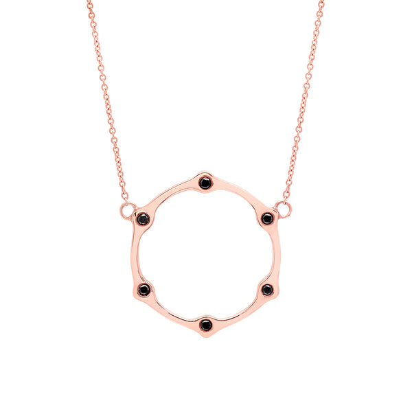 Gear Necklace | Rose Gold with Black Diamonds