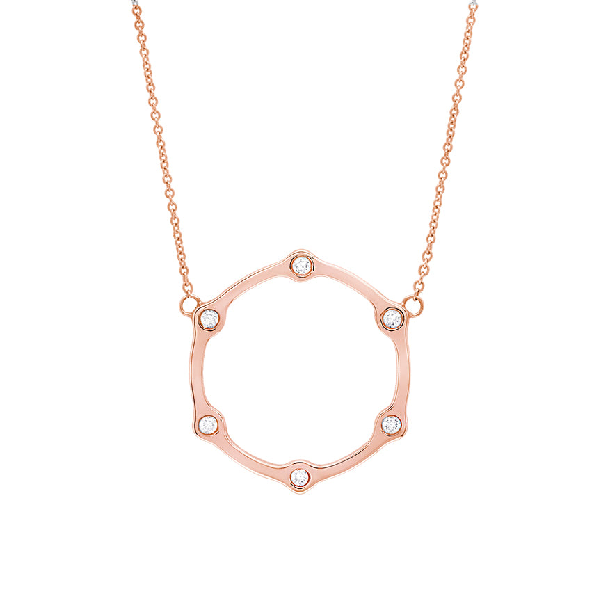 Gear Necklace | Rose Gold with White Diamonds
