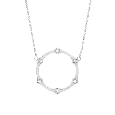 Black Diamond Gear Necklace | White Gold